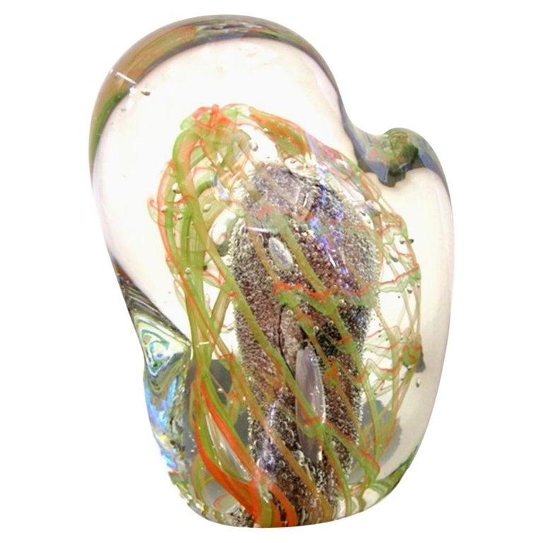 Salviati Vintage Green Orange Purple Crystal Murano Glass Sculpture Work of Art For Sale