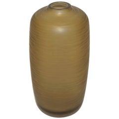 Salviati Vintage Italian Smoked Amber Gold Battuto Murano Art Glass Vase