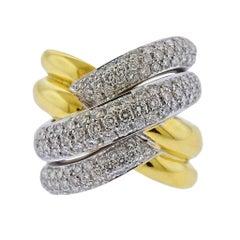 Salvini 1.78 Carat Diamond Gold Crossover Cocktail Ring