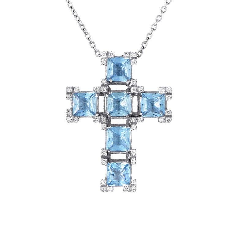 Women's Salvini 18 Karat White Gold Aquamarine and Diamond Crucifix Pendant Necklace For Sale