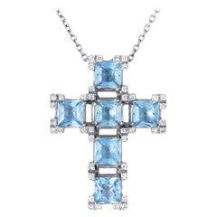 Salvini 18 Karat White Gold Aquamarine and Diamond Crucifix Pendant Necklace