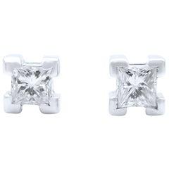 Salvini 18 Karat White Gold Diamond Princess Cut Stud Earrings