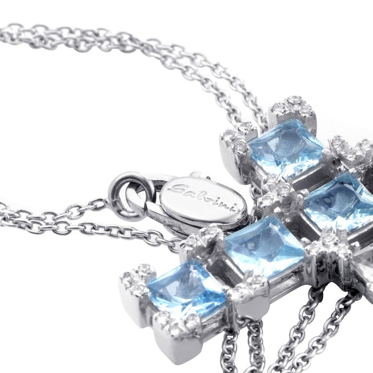 Salvini 18 Karat White Gold Aquamarine and Diamond Crucifix Pendant Necklace In New Condition For Sale In Southampton, PA