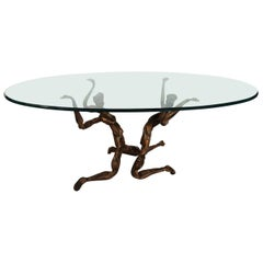 Salvino Marsura Vintage Bronze Handcrafted Trinidad Brutalist Coffee Table 1960s