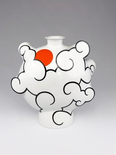 """Cloud Flask"", Contemporary Porcelain Vessel Form with Glaze and China Paint"