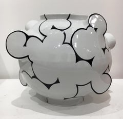 Cloud Moon Jar, Contemporary Ceramic Porcelain Sculpture with Glaze, China Paint