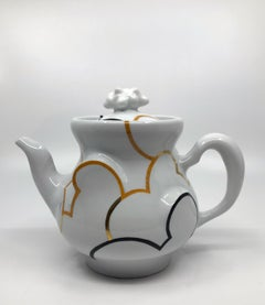 """""""Cloud Teapot with Build in Steeper"""", Porcelain, Sculpture, China Paint, Glaze"""