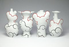 """Cloudscape Quadriptych"", Contemporary, Porcelain Vases, Ceramic, China Paint"
