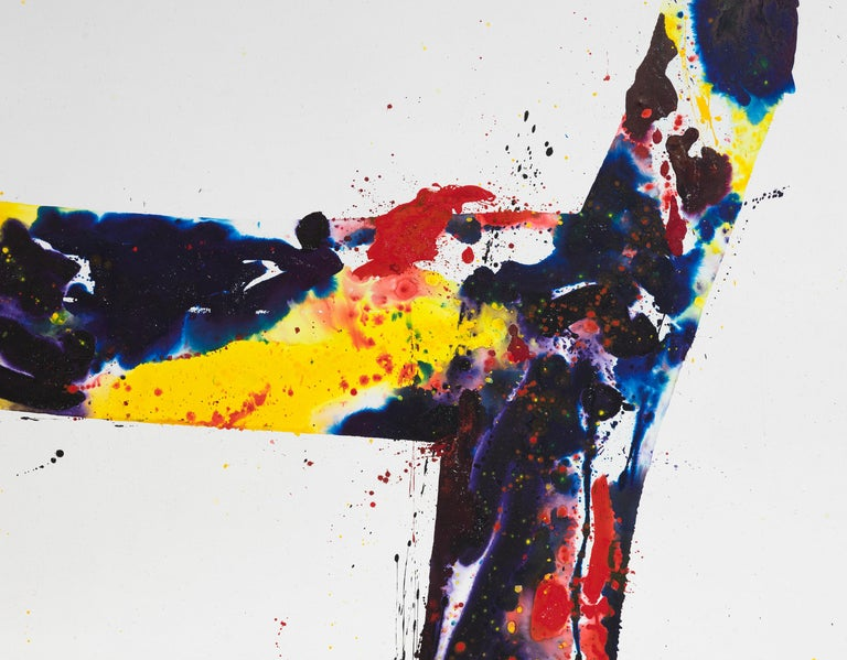 A Whirling Square - Beige Abstract Painting by Sam Francis