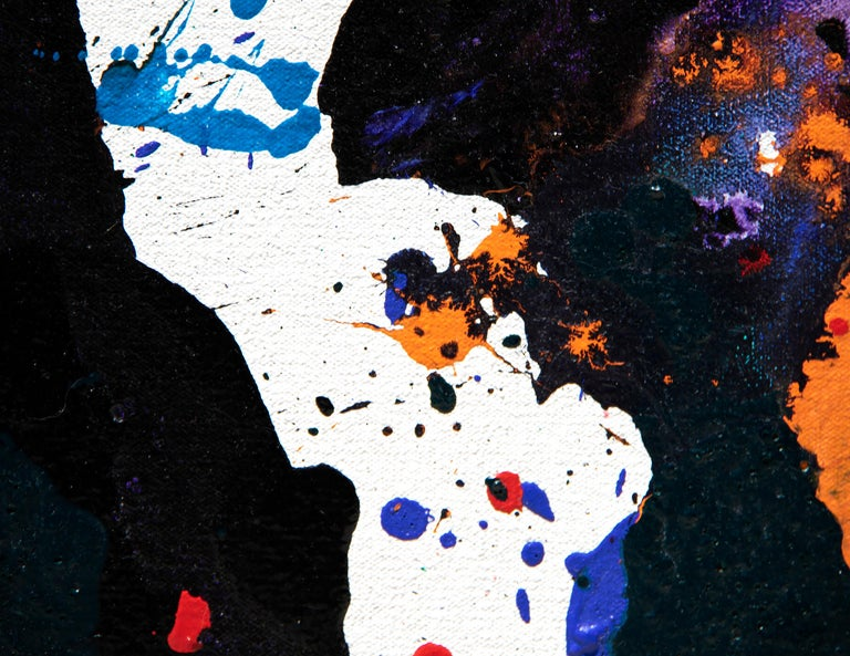 Untitled 1985, San Leandro - Black Abstract Painting by Sam Francis