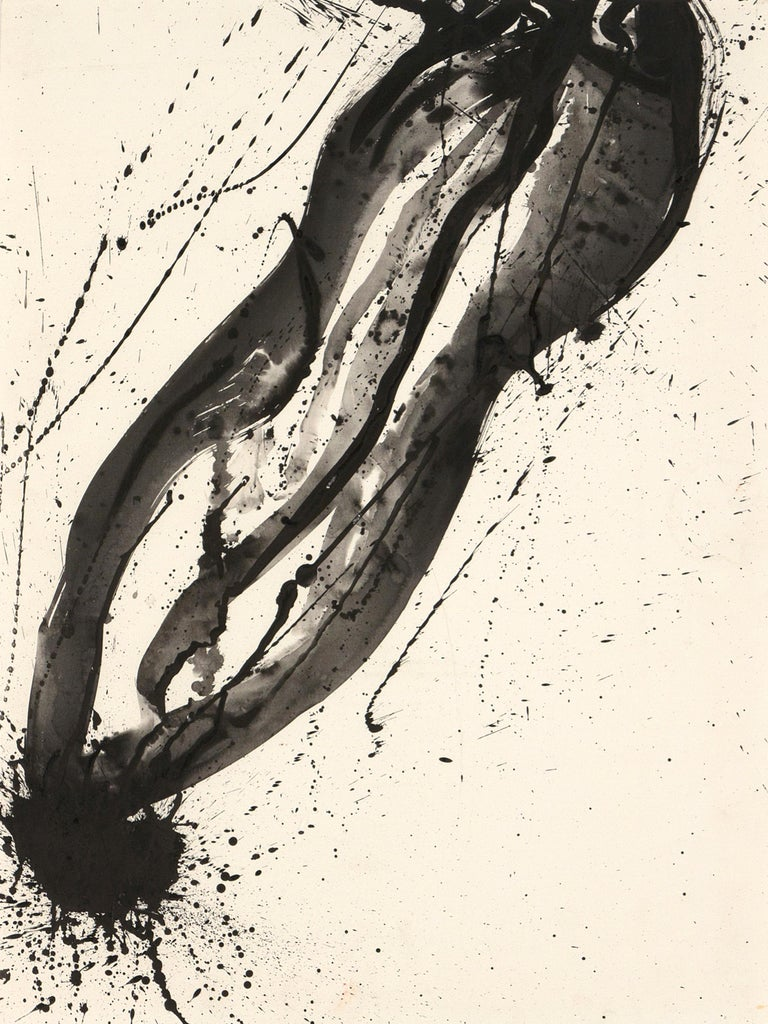 Sam Francis Abstract Painting - Untitled (Black and White Composition)
