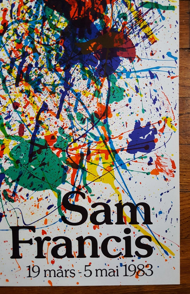 An original eight color lithograph, exhibition poster on wove paper by American artist Sam Francis (1923-1994) titled