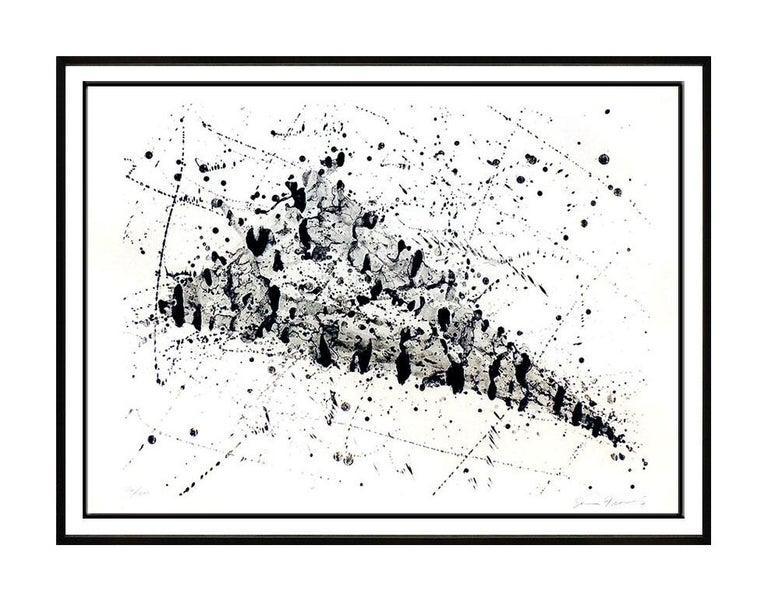 Sam Francis Lithograph Large Original HAND SIGNED Abstract Color Artwork SF 240 - Gray Abstract Drawing by Sam Francis