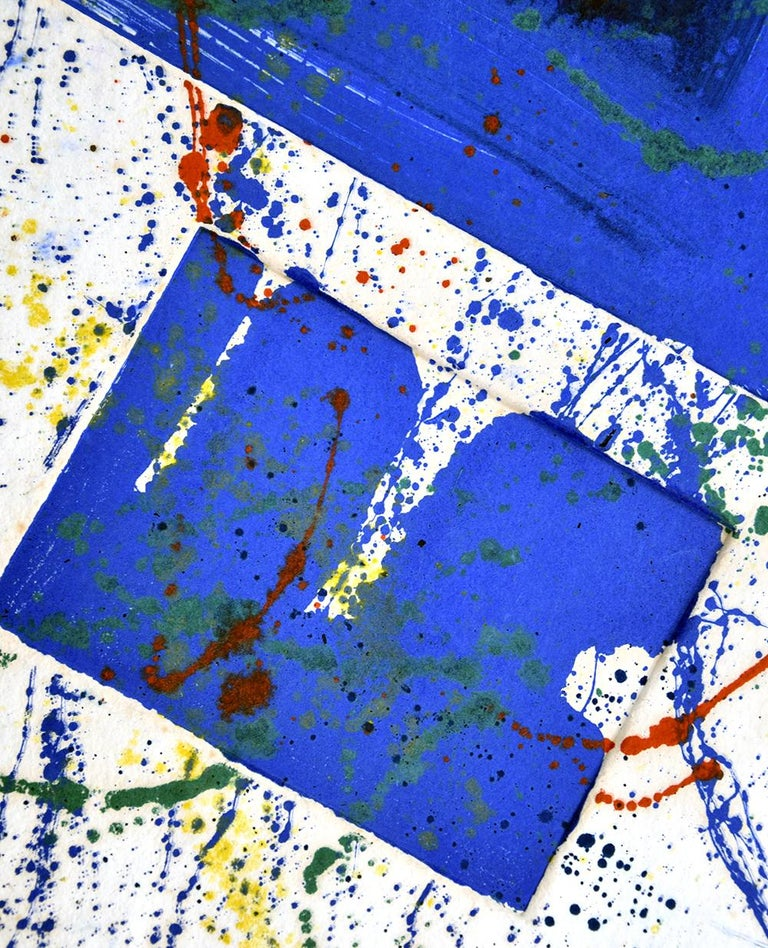 Created in 1978, Sam Francis Untitledis a unique monotype on handmade paper. This work is hand signed by Sam Francis and stamped by the Sam Francis Estate on verso.  Sam Francis Untitled, 1978 features striking deep blue squares underneath