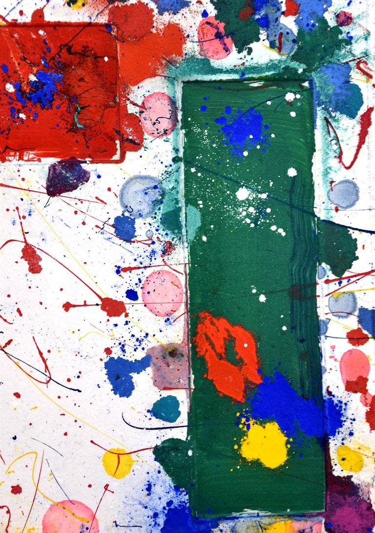 Created in 1984-85, this Unique Original Monotype with oil paint, dry pigment, and ink on handmade paper is hand signed by Sam Francis (San Mateo, 1923 - Santa Monica, 1994) in pencil in the lower right.  Sam Francis Monotype Untitled, 1981 is a
