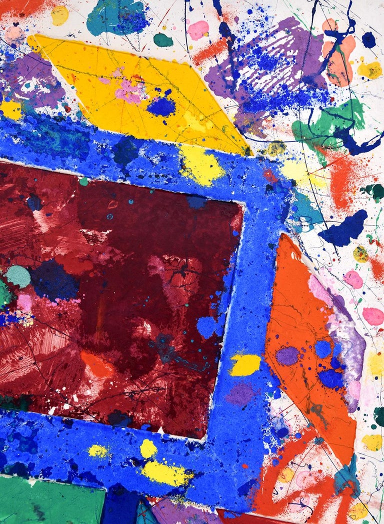 This unique work on paper (monotype) with oil paint, powdered pigment and watercolor in colors on handmade paper is hand signed Sam Francis (San Mateo, 1923- Santa Monica, 1994) in the lower right image. This is a unique and original work.  This Sam