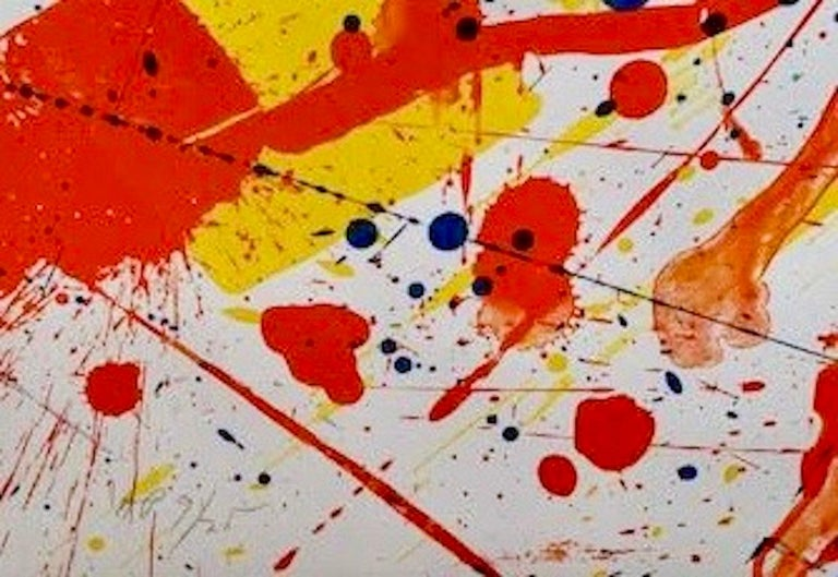 A bold statement by the artist, Sam Francis created this lithograph in 1982 with beautiful colors on a large sheet. Hand-signed by the artist in pencil, and numbered, the artwork measures49 ½ x 34 ¼ in. (120.7 x 87 cm), unframed and is from the