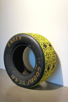 """""""Second Place is the First Loser"""" carved tire sculpture Nascar"""