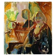 Sam Karres Modern Portrait Oil Painting on Canvas Signed Unframed