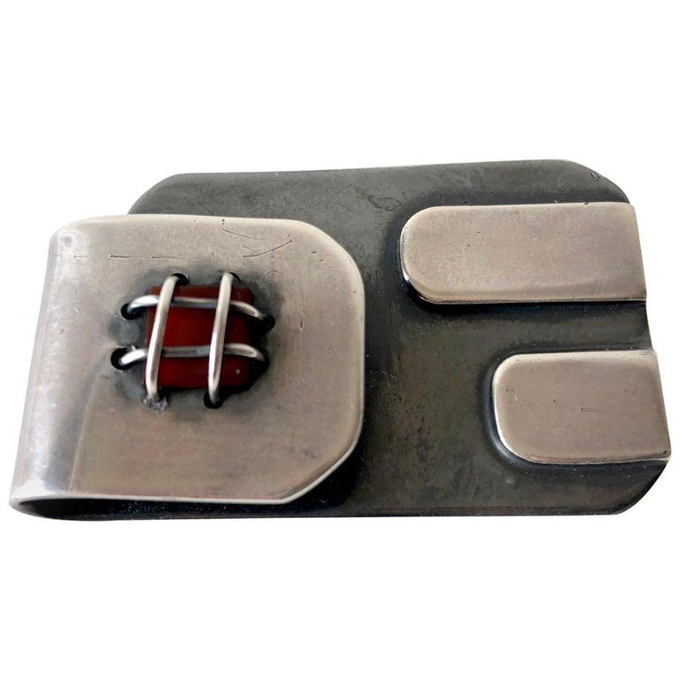 Sam Kramer Sterling Silver Carnelian American Modernist Abstract Brooch For Sale