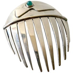 Sam Kramer Sterling Silver Chrysoprase Modernist Hair Comb