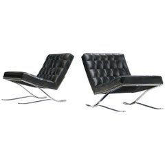 Sam Larsson Easy Chairs in Leather and Chrome