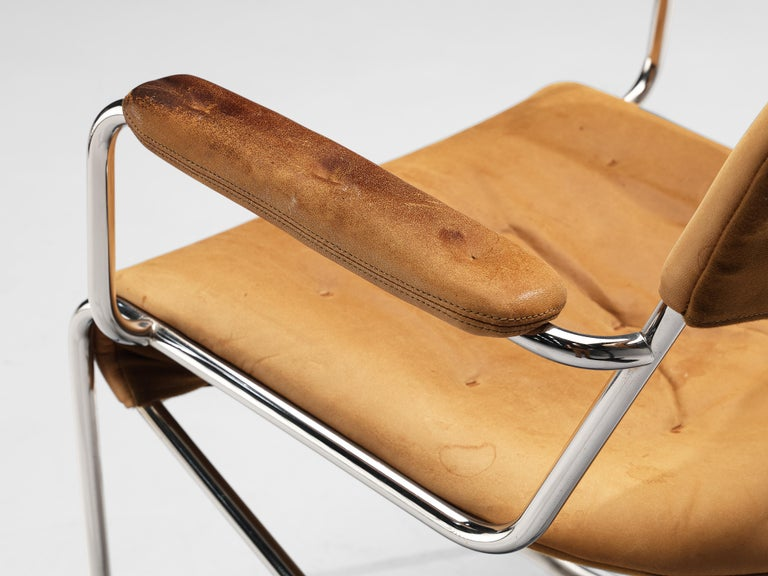 Sam Larsson for DUX Armchairs Model 'Sam' in Cognac Leather For Sale 3