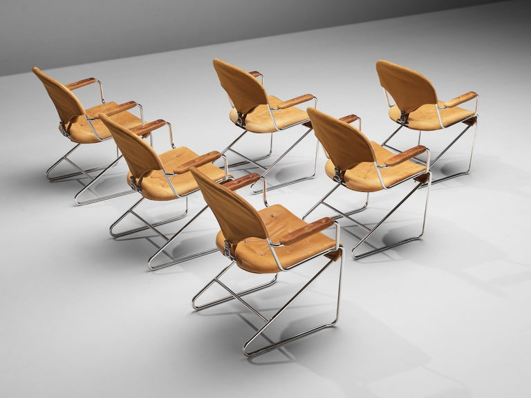 Sam Larsson for DUX Armchairs Model 'Sam' in Cognac Leather In Good Condition For Sale In Waalwijk, NL