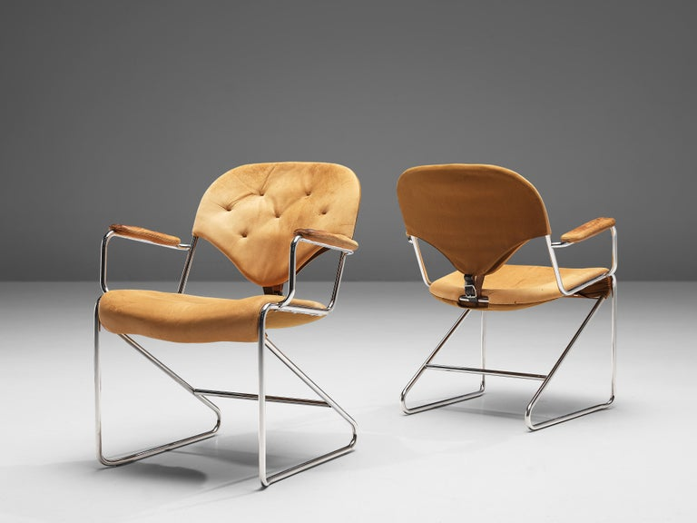 Late 20th Century Sam Larsson for DUX Armchairs Model 'Sam' in Cognac Leather For Sale