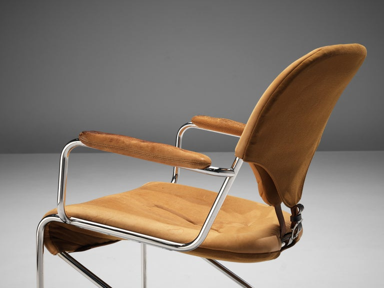 Steel Sam Larsson for DUX Armchairs Model 'Sam' in Cognac Leather For Sale