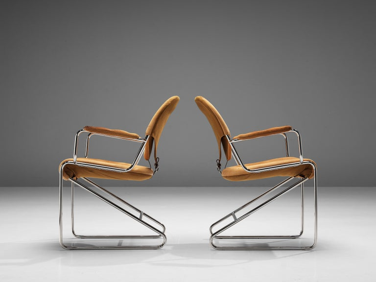 Sam Larsson for DUX Armchairs Model 'Sam' in Cognac Leather For Sale 1