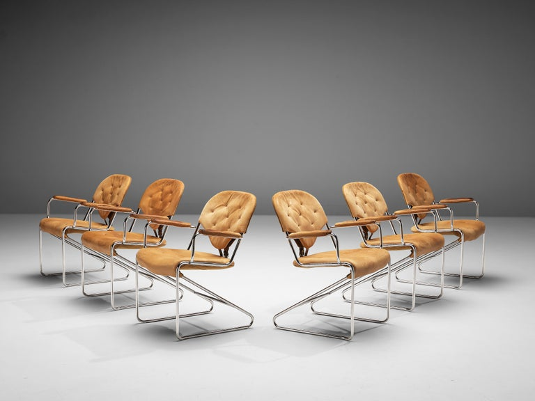 Sam Larsson for DUX Armchairs Model 'Sam' in Cognac Leather For Sale 2