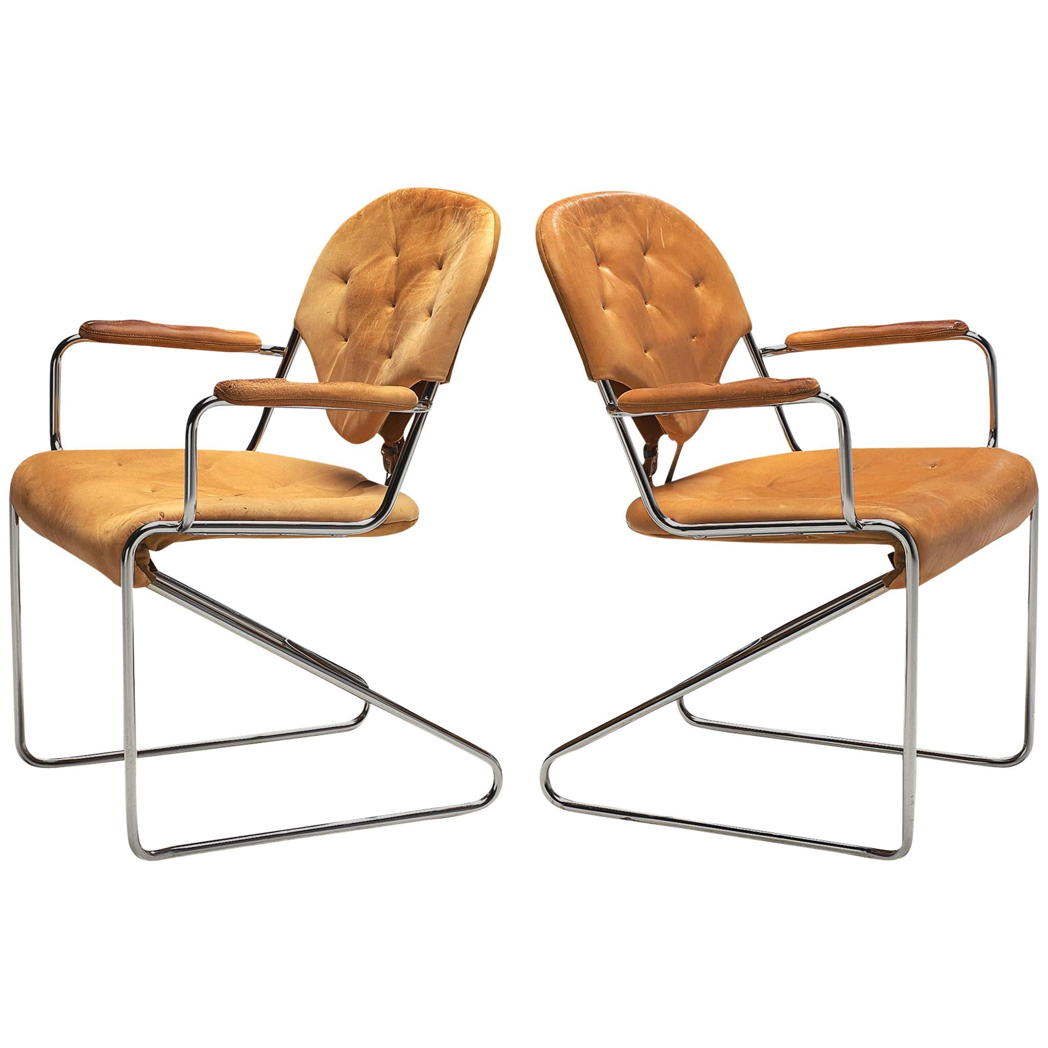 "Sam Larsson for DUX Pair of Armchairs ""1974"" in Cognac Leather"