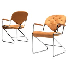 """Sam Larsson for DUX Pair of Armchairs """"1974"""" in Cognac Leather"""