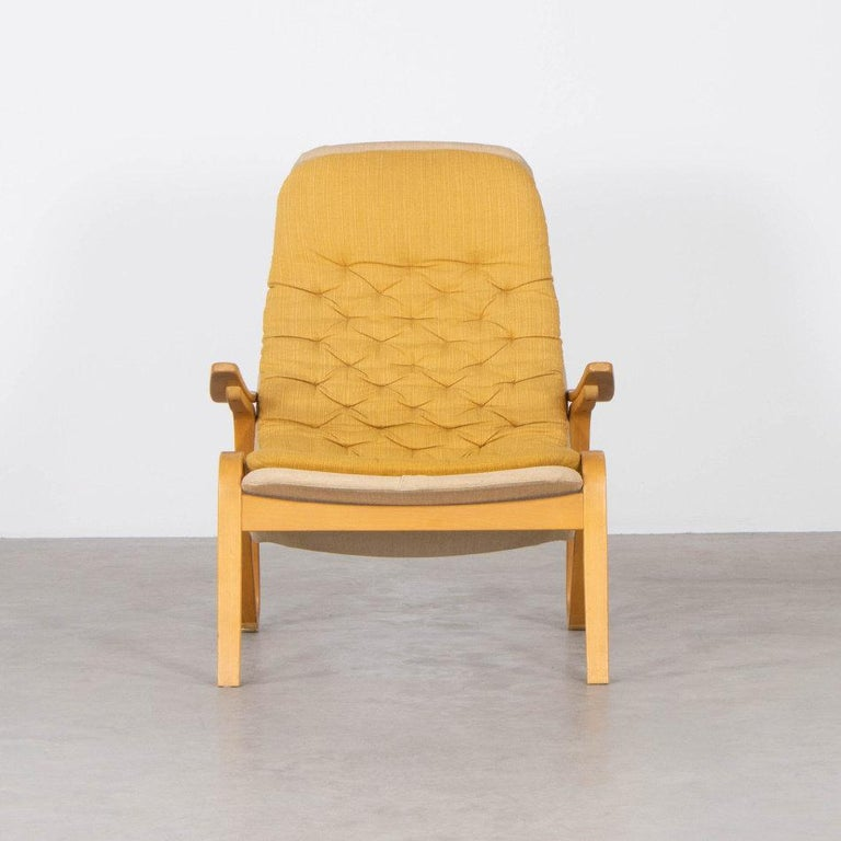 Scandinavian Modern Sam Larsson Metro Lounge Chair in Plywood and Canvas / Fabric for DUX Sweden For Sale