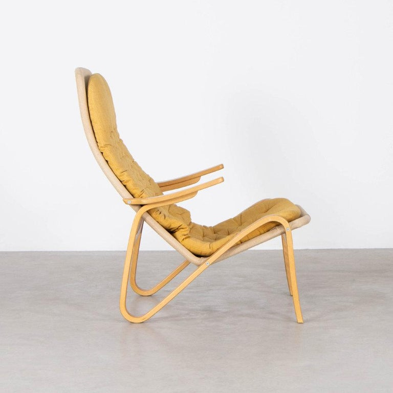 Swedish Sam Larsson Metro Lounge Chair in Plywood and Canvas / Fabric for DUX Sweden For Sale