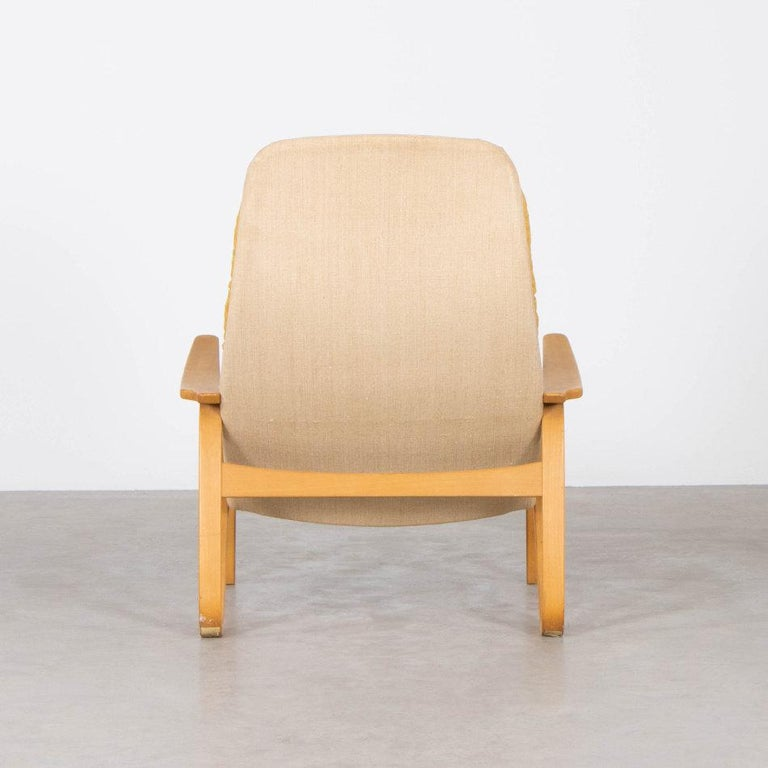 Molded Sam Larsson Metro Lounge Chair in Plywood and Canvas / Fabric for DUX Sweden For Sale