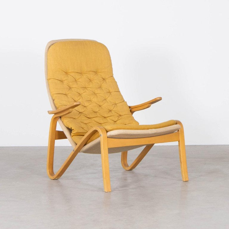 Sam Larsson Metro Lounge Chair in Plywood and Canvas / Fabric for DUX Sweden In Good Condition For Sale In Amsterdam, NL