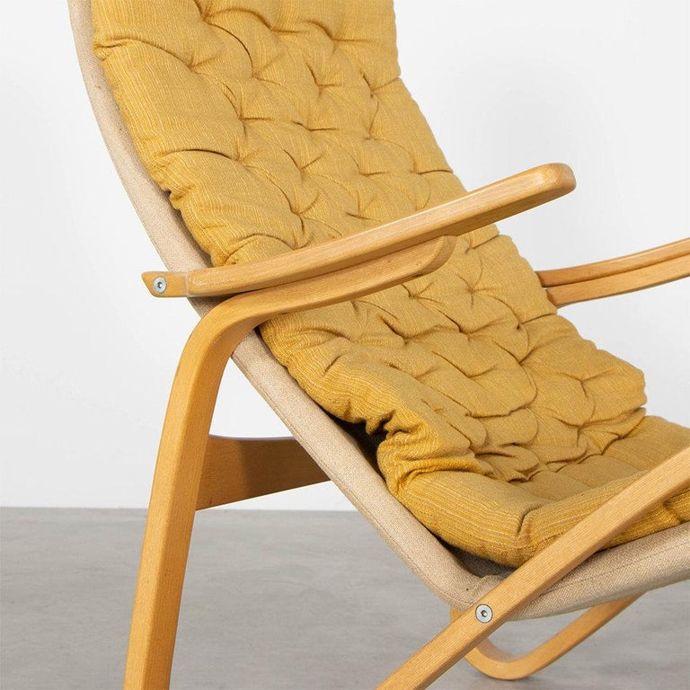 Late 20th Century Sam Larsson Metro Lounge Chair in Plywood and Canvas / Fabric for DUX Sweden For Sale