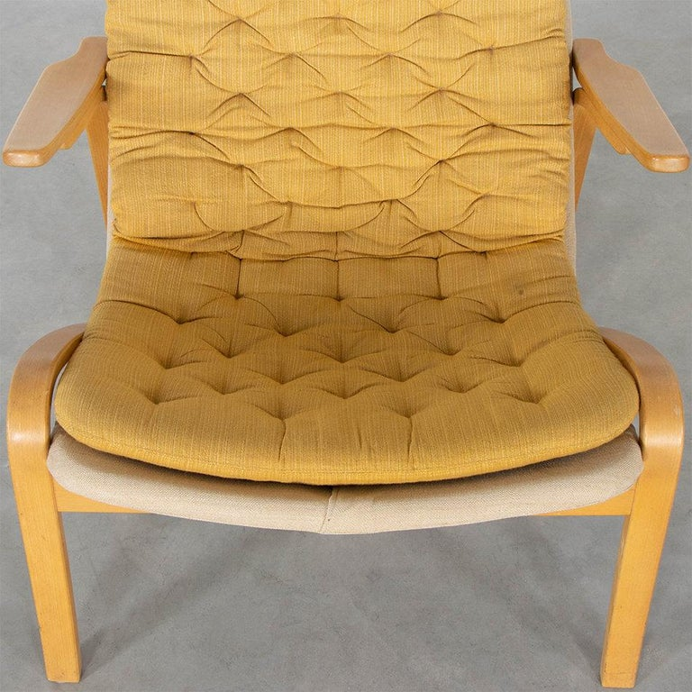 Birch Sam Larsson Metro Lounge Chair in Plywood and Canvas / Fabric for DUX Sweden For Sale