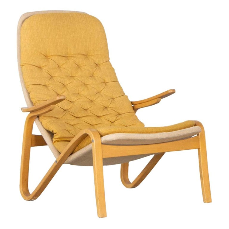 Sam Larsson Metro Lounge Chair in Plywood and Canvas / Fabric for DUX Sweden For Sale