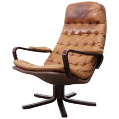 Sam Larsson Tufted Leather Lounge Armchair for DUX