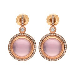 Sam Lehr Pink Moonstone and Diamond Earrings