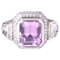 Sam Lehr White Gold Diamond and Kunzite Ring