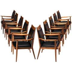 Sam Maloof Handcrafted Set of Ten Armchairs in Walnut and Black Leather