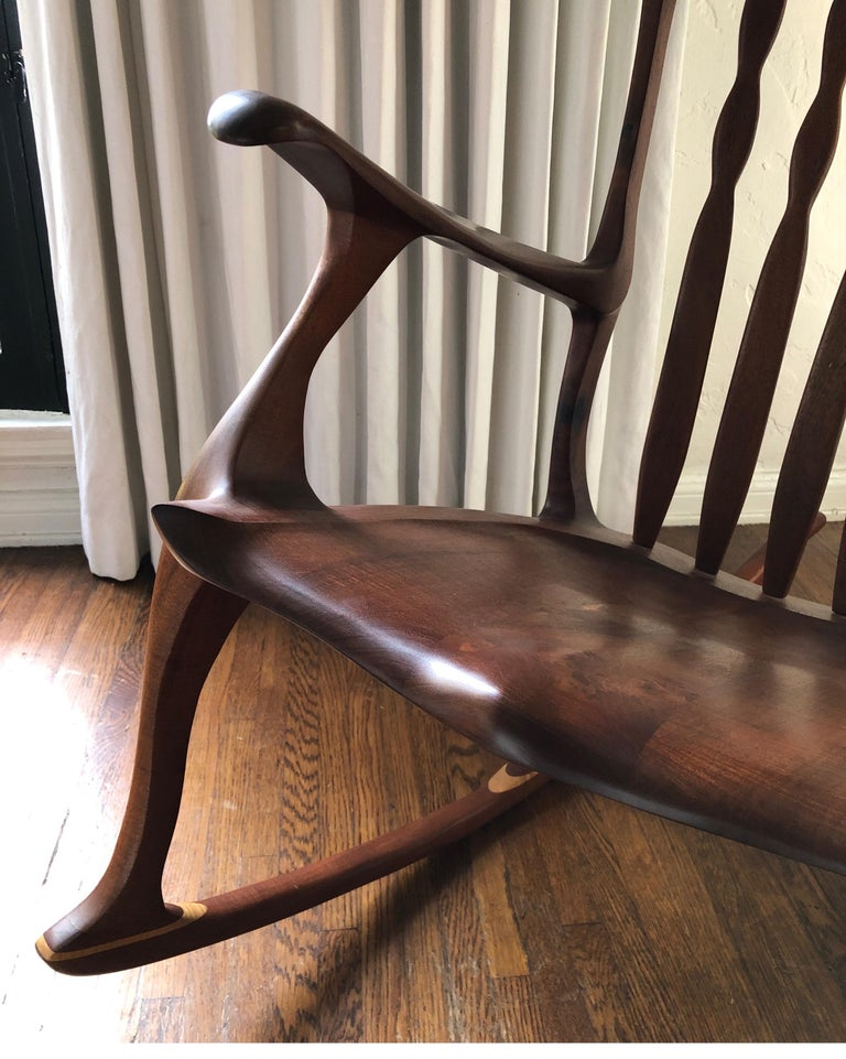 American Sam Maloof Style Mid-Century Modern Rocking Chair, Signed Bill Kappel