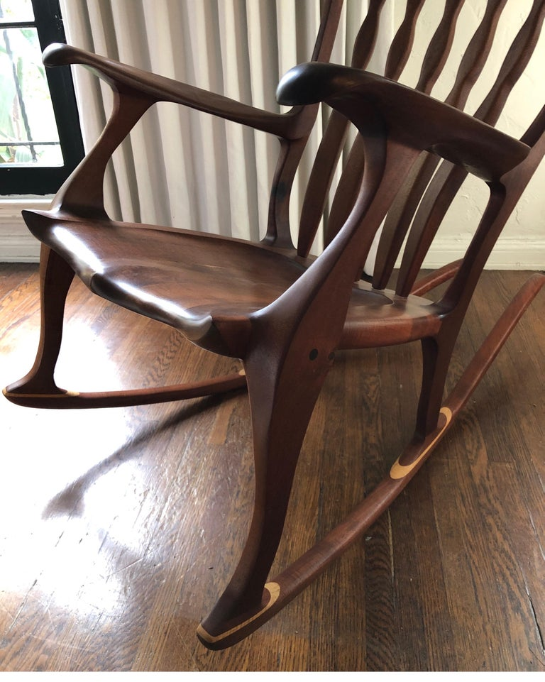 Hand-Crafted Sam Maloof Style Mid-Century Modern Rocking Chair, Signed Bill Kappel
