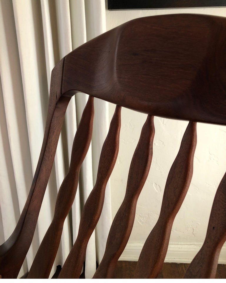 Sam Maloof Style Mid-Century Modern Rocking Chair, Signed Bill Kappel In Good Condition In Los Angeles, CA