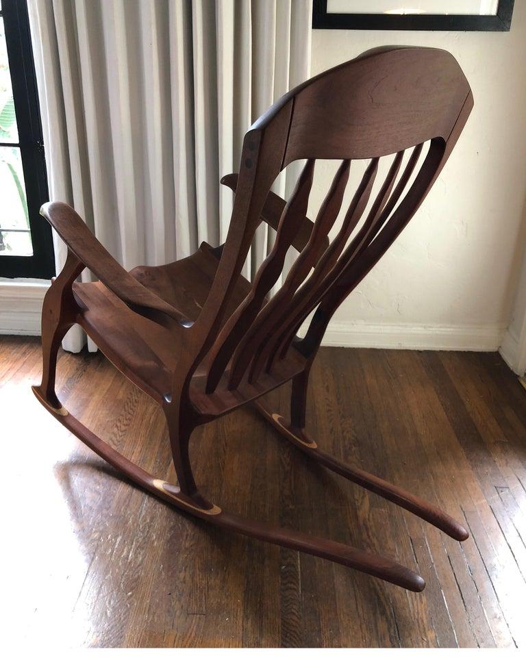 Maple Sam Maloof Style Mid-Century Modern Rocking Chair, Signed Bill Kappel