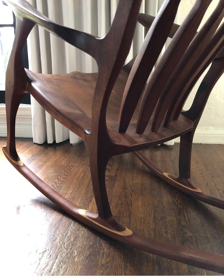 Sam Maloof Style Mid-Century Modern Rocking Chair, Signed Bill Kappel 2
